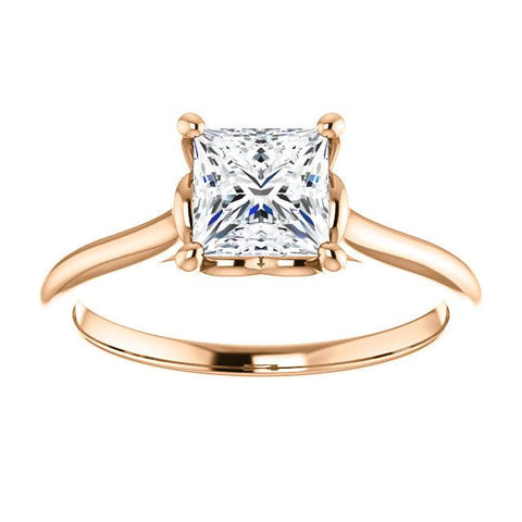 14K White 5.5 mm Square Solitaire Engagement Ring Mounting - Moijey Fine Jewelry and Diamonds