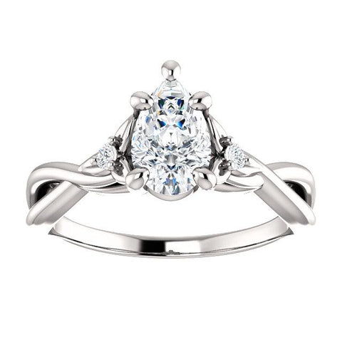 Floral Infinity Pear Engagement Ring Setting (8x5mm) - Moijey Fine Jewelry and Diamonds