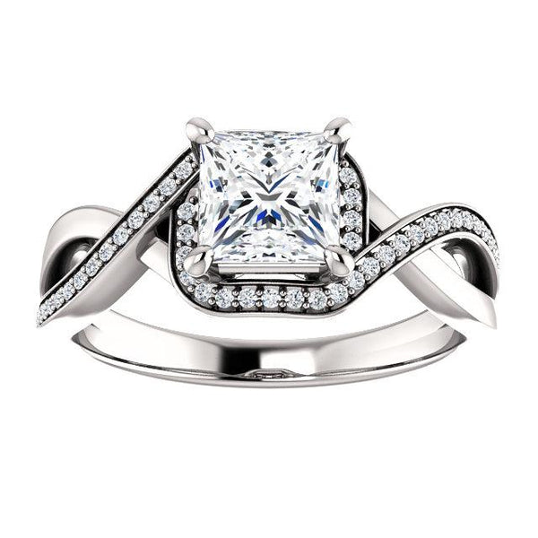 Princess Cut Diamond Engagement Ring | Infinite Twist Semi Set Engagement Ring | Diamond Ring