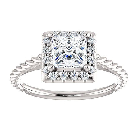 Princess Rope & Diamond Halo Engagment Ring Setting (5.5mm) - Moijey Fine Jewelry and Diamonds