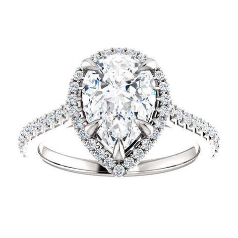 Sweet Halo Pear Engagement Ring Setting - Moijey Fine Jewelry and Diamonds