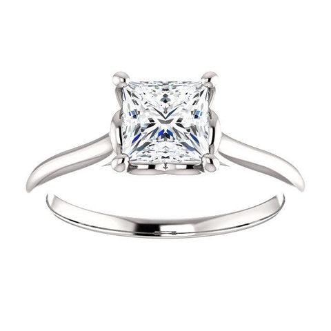 Princess Square Solitaire Ring | White Diamond Engagement Ring | Solitaire Diamond Ring