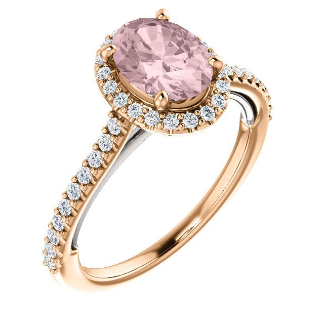 Rose and White Gold Oval-Shaped Sweetheart Halo Engagement Ring