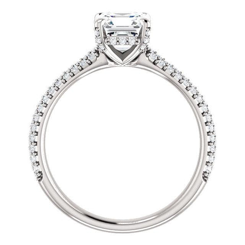 Asscher Cut Engagement Ring Setting | Pave Accented Engagement Ring | Diamond Ring