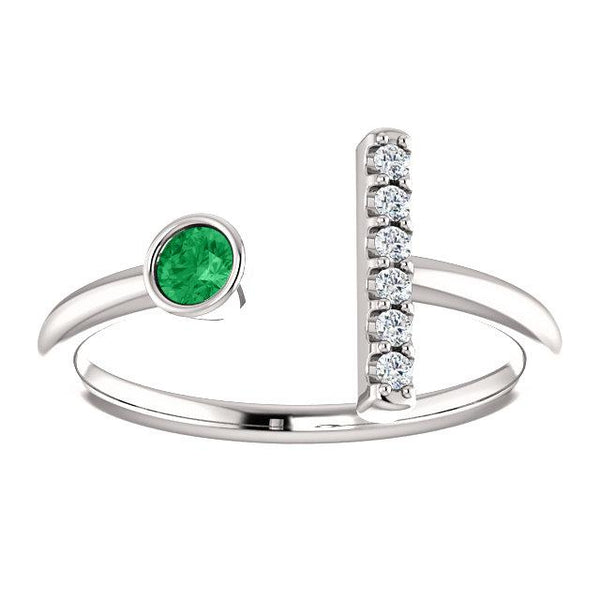Bezel-Set Emerald & .05 CTW Diamond Bar Ring