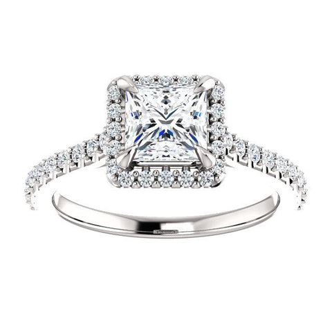 Sweet Halo Princess-Cut Engagement Ring Mounting - Moijey Fine Jewelry and Diamonds