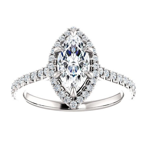 Beloved Halo Marquise Engagement Ring Setting (10x5mm) - Moijey Fine Jewelry and Diamonds