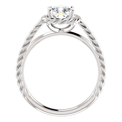 14K White 6mm Cushion Ring Mounting - Moijey Fine Jewelry and Diamonds