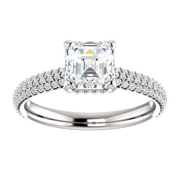 Pave Accented Asscher-Cut Engagement Ring Setting
