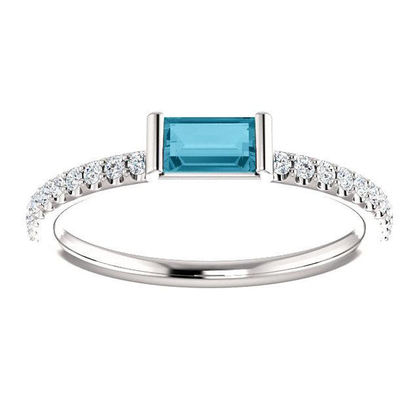 London Blue Topaz Baguette | Diamond Stackable Ring | Diamond Ring