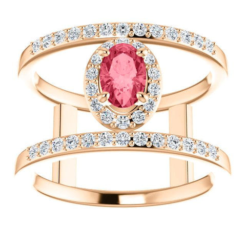 Oval Shaped Pink Spinel Halo Ring | Rose Gold Open Space Diamond Ring | Designer Diamond Ring