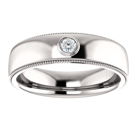 Men's Bezel Set Diamond Ring | Platinum Wedding Band for Men | Diamond Ring