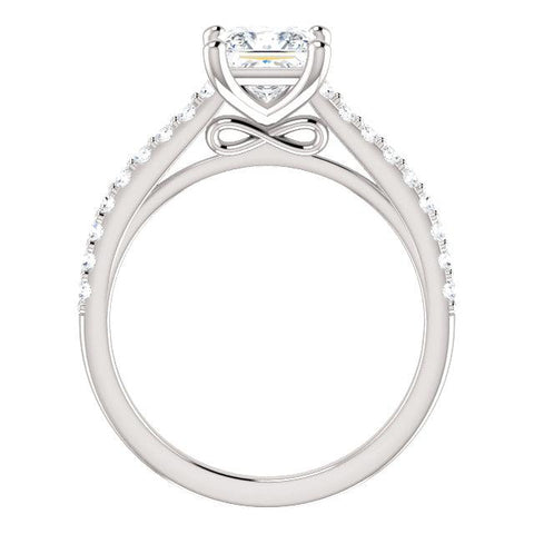 14K White 5.5x5.5mm Square 1/4 CTW Semi-Set Engagement Ring - Moijey Fine Jewelry and Diamonds