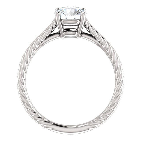 14K White 6.5mm Round Ring Mounting - Moijey Fine Jewelry and Diamonds