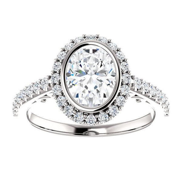 Oval Bezel & Filigee Engagement Ring Setting