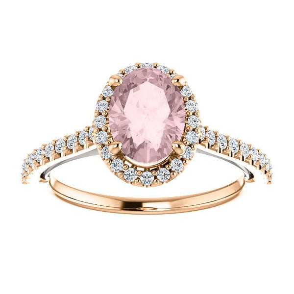 Rose and White Gold Oval-Shaped Sweetheart Halo Engagement Ring - Moijey Fine Jewelry and Diamonds