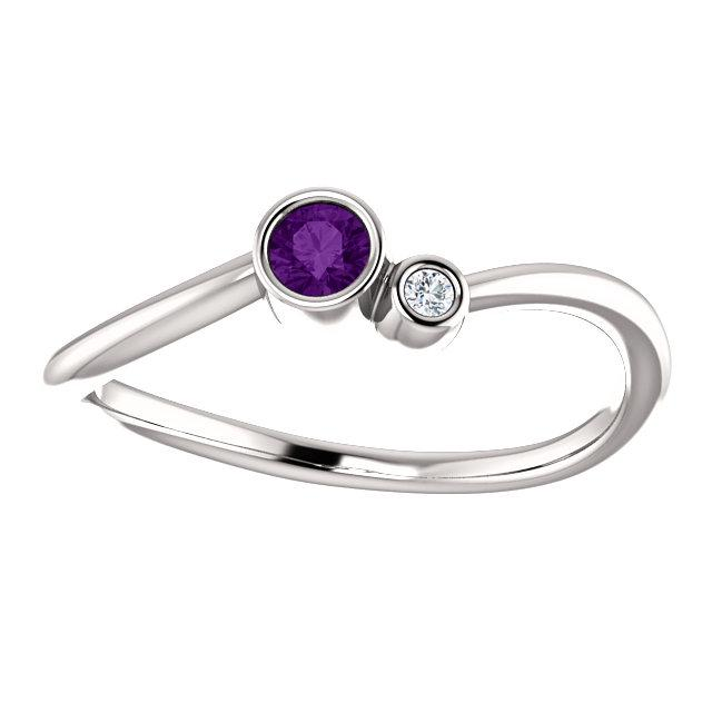 Amethyst & .02 CTW Diamond Two-Stone Bezel-Set Ring