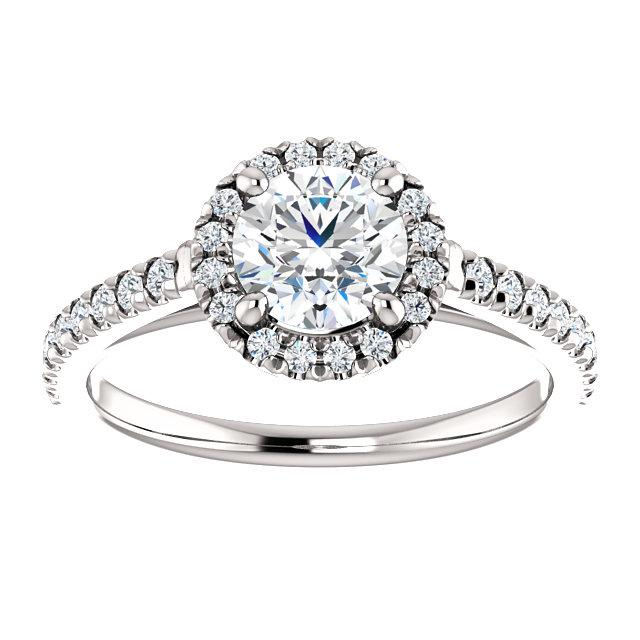 Round Comfortable French-Set Halo Engagement Ring Setting