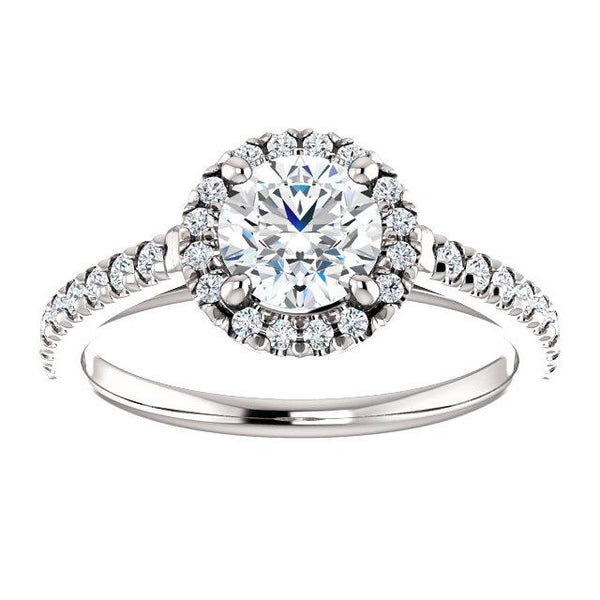 Comfortable French-Set Halo Engagement Ring Setting - Moijey Fine Jewelry and Diamonds