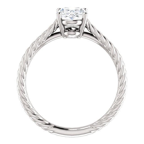 14K White 8x6mm Oval Ring Mounting - Moijey Fine Jewelry and Diamonds