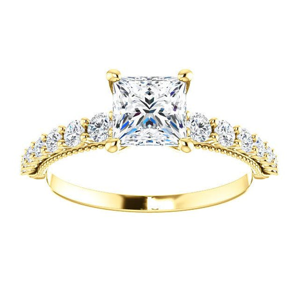 14K Yellow 5.5mm Square 1/3 CTW Diamond Semi-Set Engagement Ring - Moijey Fine Jewelry and Diamonds