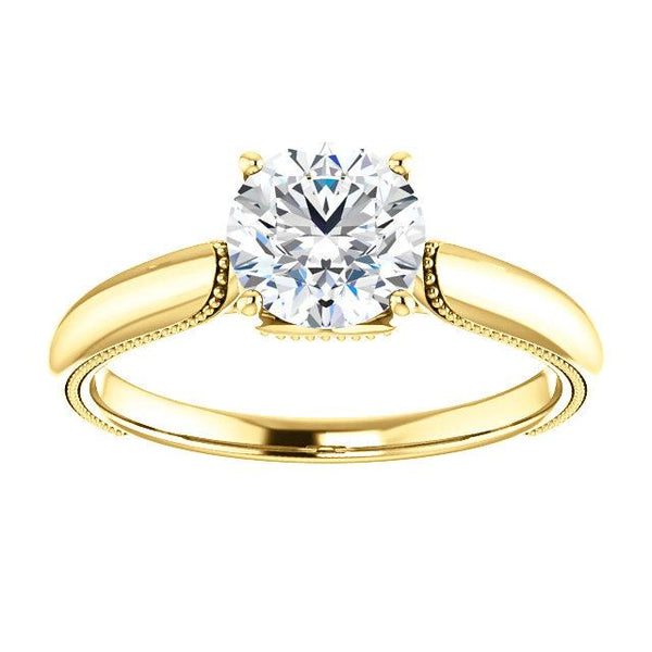 14K Yellow 6.5mm Round Engagement Ring Mounting - Moijey Fine Jewelry and Diamonds