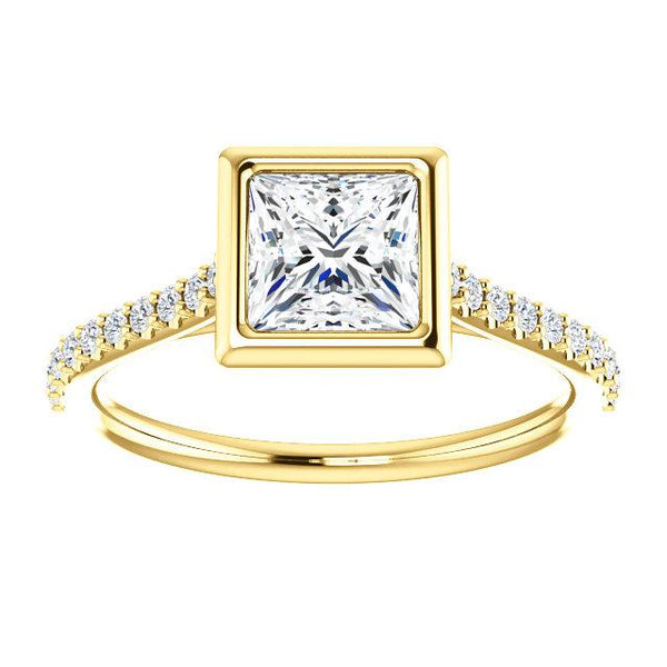 14K Yellow 5.5x5.5mm Square 1/6 CTW Diamond Semi-Set Engagement Ring - Moijey Fine Jewelry and Diamonds