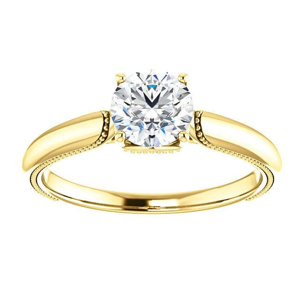 14K Yellow 5.8mm Round Engagement Ring Mounting - Moijey Fine Jewelry and Diamonds
