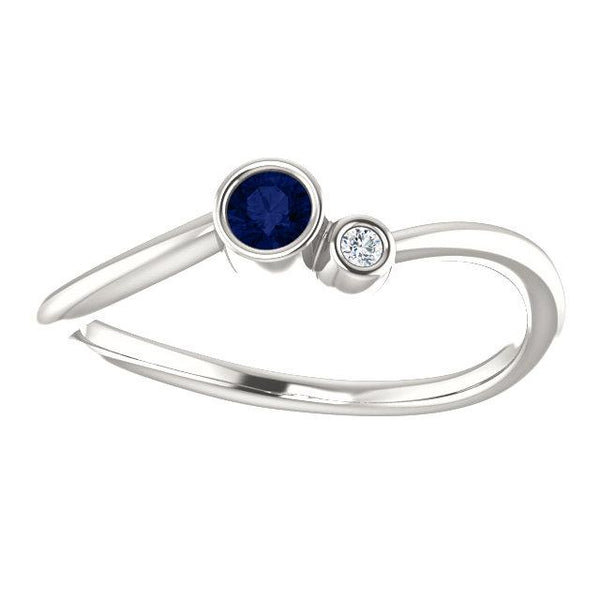 Bezel-Set Sapphire & .02 CTW Diamond Two-Stone Ring