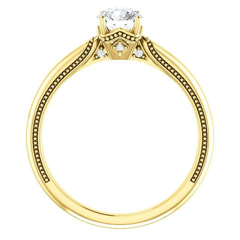 14K Yellow 5.2mm Round Engagement Ring Mounting - Moijey Fine Jewelry and Diamonds