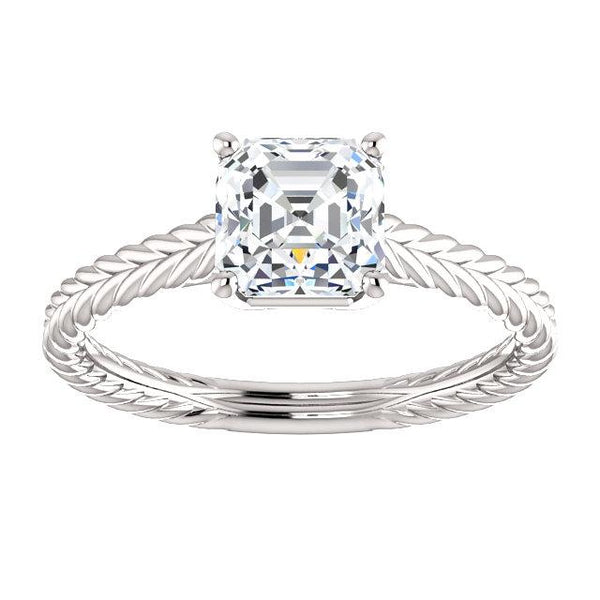 14K White 6mm Asscher Ring Mounting