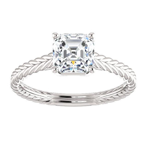 14K White 6mm Asscher Ring Mounting - Moijey Fine Jewelry and Diamonds