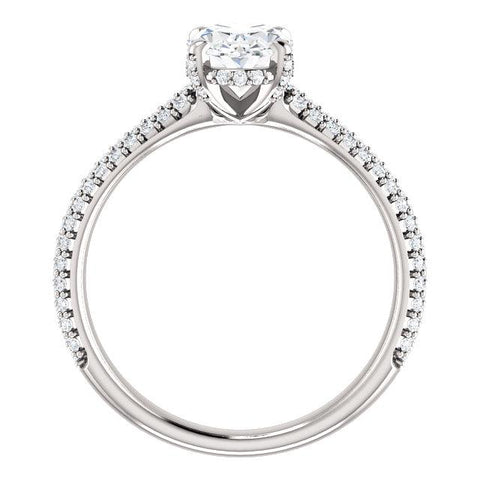 Oval Shaped Engagement Ring | Pave Accented Engagement Ring | Designer Diamond Ring Setting