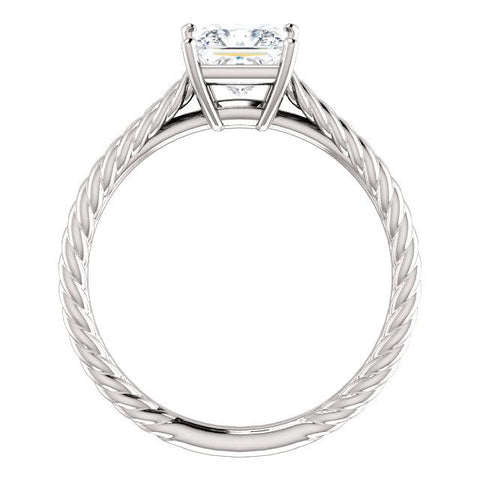 14K White 5.5mm Square Ring Mounting - Moijey Fine Jewelry and Diamonds