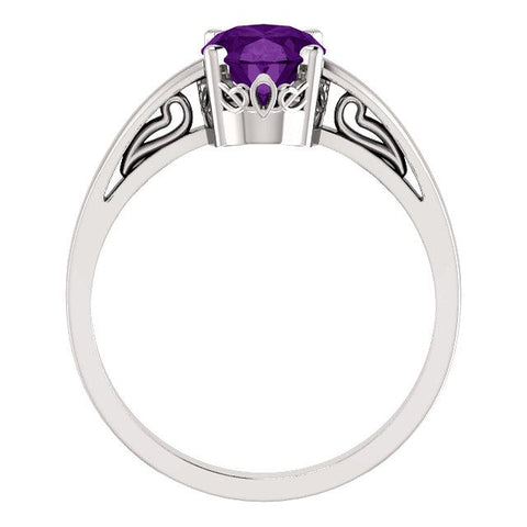Oval Shaped Amethyst Ring | Oval Solitaire Scroll Ring | Amethyst Solitaire Ring