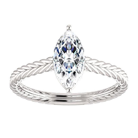 Braided Solitaire Marquise Ring Setting (10x5mm) - Moijey Fine Jewelry and Diamonds