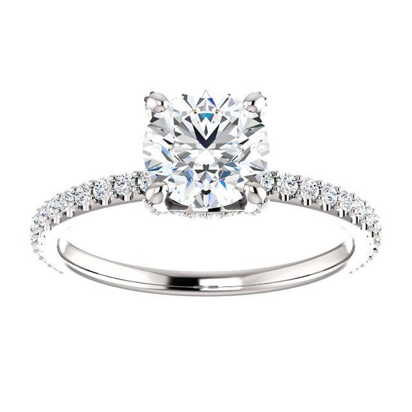 Accented Crown Diamond Engagement Ring