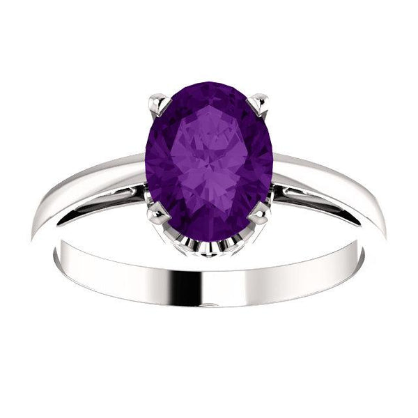 8x6 Oval-Shaped Amethyst Solitaire Scroll Ring