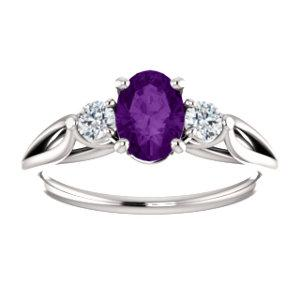 14K White Amethyst & 1/5 CTW Diamond Ring