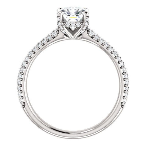 Princess Cut Engagement Ring Setting | Pave Accented Diamond Ring | Engagement Ring
