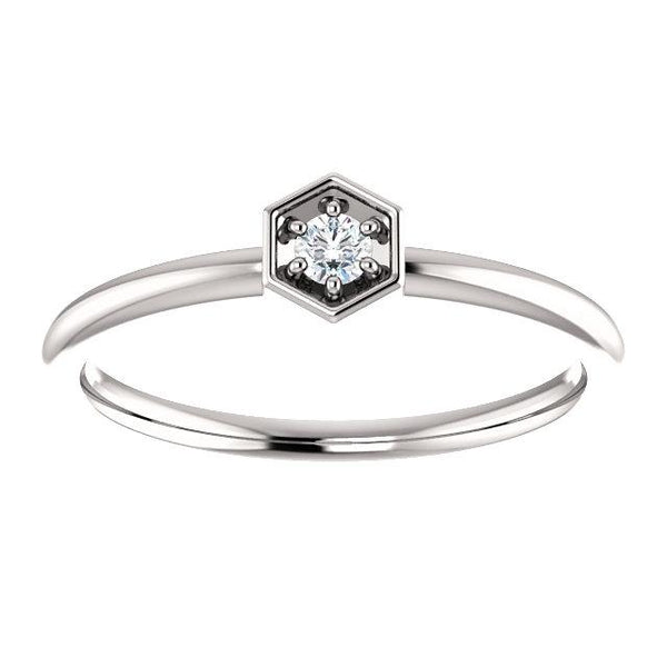 Diamond Hexagon Stackable Ring - Moijey Fine Jewelry and Diamonds