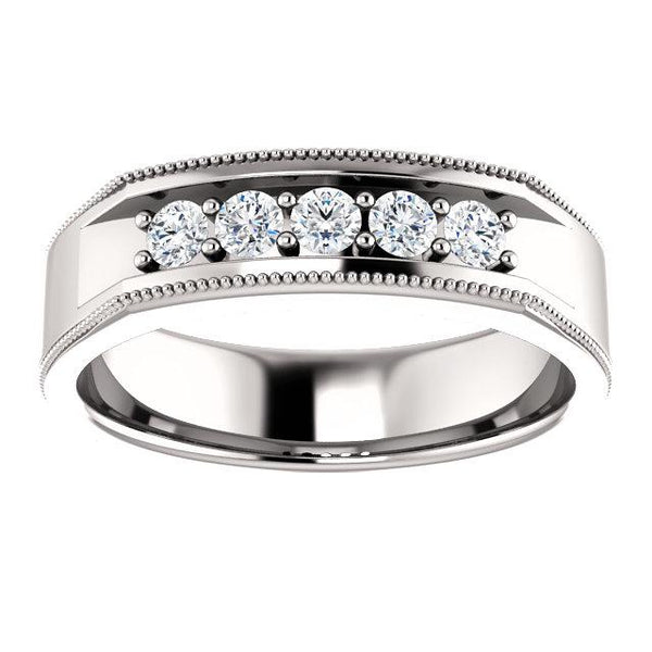 Men's Five-Diamond Milgrain Ring