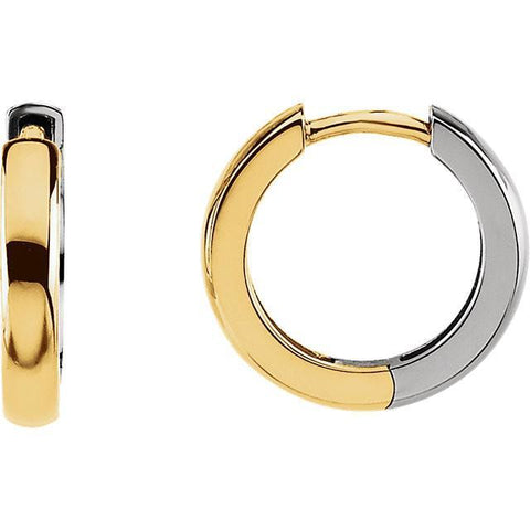 two tone earrings | two tone hoop earrings | hinged hoop two tone earring