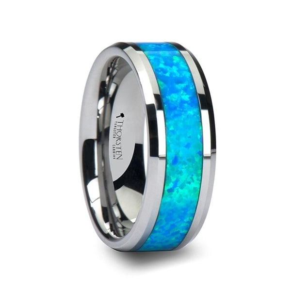 Bleu Vert Opale Tungsten Wedding Band with Blue Green Opal Inlay - Moijey Fine Jewelry and Diamonds