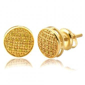 10K Yellow Gold 0.10ctw Yellow Diamond Round Dome Earrings - Moijey Fine Jewelry and Diamonds