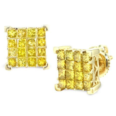 10KY 1.25ctw Yellow PC Diamond Cube Earrings - Moijey Fine Jewelry and Diamonds