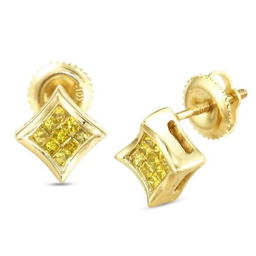 10KY 0.25ctw Yellow PC Diamond Concave Kite Earrings