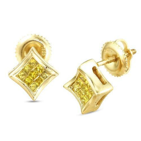 10KY 0.25ctw Yellow PC Diamond Concave Kite Earrings - Moijey Fine Jewelry and Diamonds