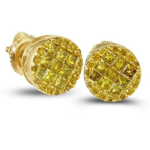 10KY 1.00ctw Yellow PC Diamond Round Earrings