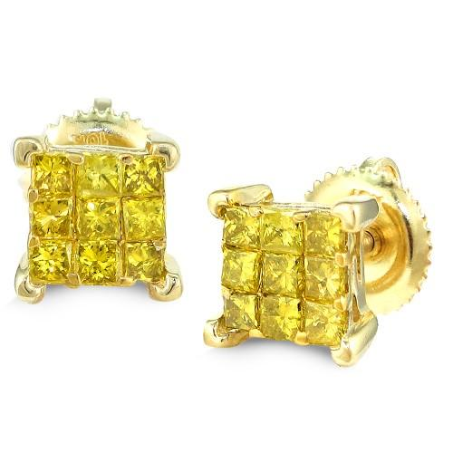 10KY 0.75ctw Yellow PC Diamond 9-Stone Earrings